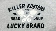 LUCKY BRAND Men T Shirt M KILLER KUSTOMS Gray Cotton / Polyester Short Sleeve