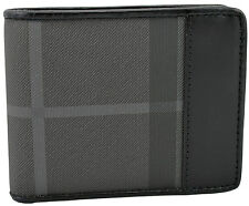 $425 BURBERRY Gray Canvas Check Black Leather Mens Bifold Wallet NEW COLLECTION
