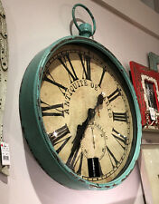 "LARGE COTTAGE FARM STYLE 19"" IRON POCKET WATCH AQUA GREEN WALL CLOCK"