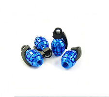 Grenade Blue Car Wheel Tyre Valve Dust Caps Covers Tire New  Set of 4