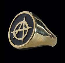 Bronze Anarchy/Anarchism Outlaw Biker Ring w/Enamel-Any Size-Free Shipping