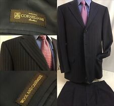 Corneliani Suit 44L Blue Stripe Cashmere 3bt 2vnt 35x34 Pleats Italy YGI Y788