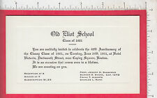 7698 Old Eliot School 1941 engraved invitation Class of 1901 40th reunion Boston