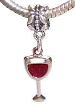 Red Wine Glass Goblet Drink Dangle Bead for Silver European Style Charm Bracelet