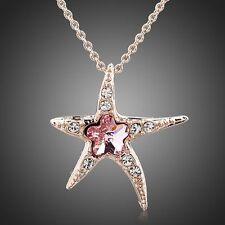 ROSE Oro Placcato di alta qualità cristallo austriaco Elegante Moda Collana / Ciondolo