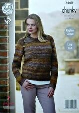 KNITTING PATTERN Ladies Easy Knit Long Sleeve Round Neck Jumper Chunky 4660