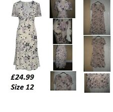 BNWT LADIES EASTEX CREAM & PURPLE PEBBLE DRESS SIZE 12