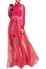 DELPOZO $5,750 pink silk sheer panel turtleneck butterfly dress gown 40/8 NEW