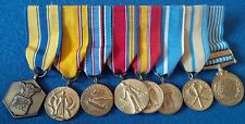 US America WW II Campain Bar of 8 Miniature Mounted Medals Korea Military Merit