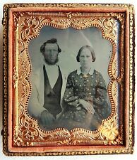 AMBROTYPE 1/6 PHOTO COUPLE PHOTOGRAPHIE ANCIENNE P105