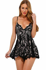 Abito tuta pizzo ricamo scollo aperto nudo Cerimonia mini Lace Playsuit Dress M
