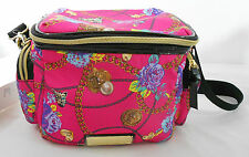 Betsey Johnson Insulated Lunch Tote Large Pink Floral Shoulder Strap Fushia NEW