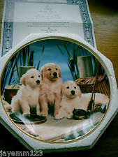 FRANKLIN MINT PLATE LABRADOR PUPPIES REEL PALS FISHING ROYAL DOULTON BOX CERT