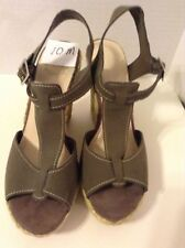 Nine West Women's Wedge Size 10 Medium B Olive Green Solid Suede High (3 in)