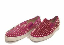 Mens Christian Louboutin Suede Roller Boat Flat Sneaker Pink Size 48.5 Authentic