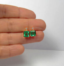 3.26ct AAA NATURAL GREEN COLOMBIAN EMERALD STUD EARRINGS 18K GOLD GORGEOUS