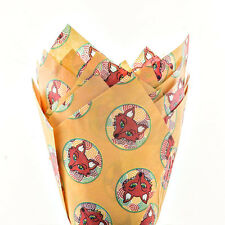 Fox Print Muffin Tulip Wraps x24 Baking Cups Foxy