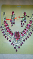 Light Pink Diamante Rhinestone crystal Necklace & earrings set wedding prom