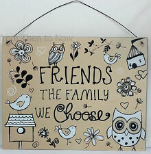 Friends Are The Family We Choose Metal Sign Plaque Chic Shabby Owls Bird Vintage