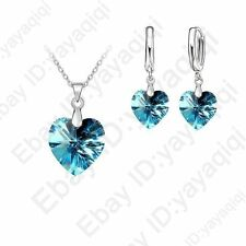 Romantic Austrian Crystal Heart Love Pendant Jewelry Sets Necklace Earring Sets