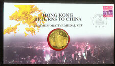 HONG KONG RETURNS to CHINA COMMEMORATIVE MEDAL in STAMPED COVER DATED JUNE 1997