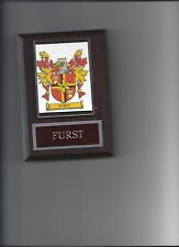 FURST COAT OF ARMS PLAQUE FAMILY CREST GENEALOGY ASK FOR YOUR NAME