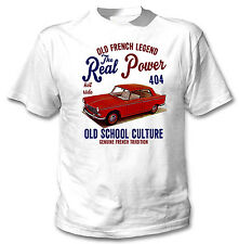 VINTAGE FRENCH CAR PEUGEOT 404 REAL POWER - NEW COTTON T-SHIRT