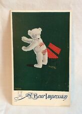 """Antique Postcard With Teddy Bear Standing By A Bench """"A Bear Impression """""""