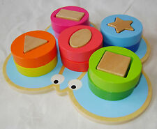 NEW ANIMAL SHAPE SORTER WOODEN PUZZLE COLOURFUL BLOCKS BABY TODDLER BUTTERFLY