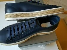 NEW PRADA MEN'S NAVY LEATHER ESPADRILLE SNEAKER TRAINER SHOE $595 US 10 PRADA 9