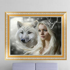 DIY 5D Diamond Wolf Beauty Resin Embroidery Painting Cross Stitch Kit Home Decor