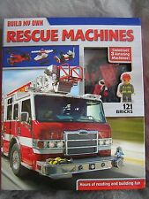 BUILDING BRICKS, RESCUE MACHINES, FIRE ENGINE, HELICOPTER, ATV, NEW