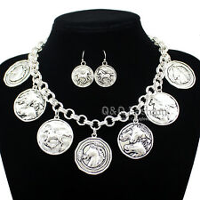 Western Silver Horse Pony Equestrian Emboss Coins Chain Earrings & Necklace W8