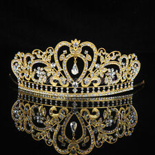Gold Crystal Tiara Crown Wedding Prom Pageant Crown Hair Jewelry Veil Headband