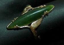 14K Lozenge Jade Solitaire Ring Yellow Gold Size 7 Antique Vintage Marquise