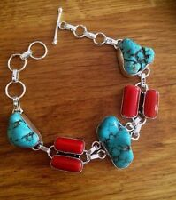 CHUNKY TURQUOISE AND CORAL BRACELET STERLING SILVER DESIGNER GEMSTONE JEWELRY