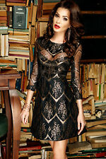 New Ladies Gold Sheer Lace Overlay Sleeved Skater Dress size UK 8-10