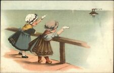 Girls Wave to Steamship - Heerenveen Netherlands Wholesaler Adv on Back