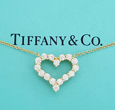 Tiffany & Co 0.62 ct 18K Yellow Gold Round Diamond Heart Pendant / Necklace 16""