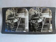 """WW1 """"TRANSFERRING SEVERELY WOUNDED TO SHIP"""" WWI KEYSTONE STEREOVIEW CARD V19241"""