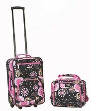 Rockland 2 Piece Luggage Set Pucci NEW Carry-On Rolling Suitcase Tote Bag Wheels