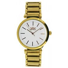 Softech Gold Plated Dial & Strap White Face Bracelet Wrist Watch Analog Quartz