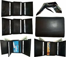 Lot of 6 New man's leather tri-fold wallet Black 12 credits card 2 billfold NWT