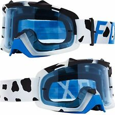 FOX AIRSPACE MOTOCROSS MX GOGGLE GRAV WHITE with BLUE TINT LENS tear-off airspc