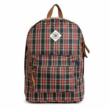 Obey OUTSIDER Navy Red Green Yellow Plaid Brown Zip Pulls Laptop Sleeve Backpack