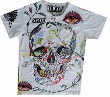 Men T Shirt short sleeve white cotton retro Rock Metal Scull Bird M RARE Sure