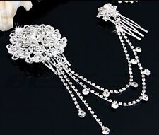 Bridesmaid Bridal Wedding Crystal Pearl Hair Combs HairPiece Tiara Slide Prom