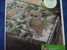 FEATHERED FRIENDS TWO LIFE-LIKE OWLS SITTING IN A TREE CROSS STITCH CHART