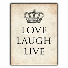LOVE LAUGH LIVE Inspirational METAL SIGN WALL PLAQUE poster art picture print
