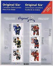 CANADA 2014 ORIGINAL 6 NHL HOCKEY TEAMS 6 HOCKEY LEGENDS STAMPS SOUVENIR SHEET